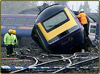 The scene of the train crash at Ufton Nervet in Berkshire Sunday November 7 2004