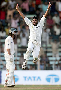 Harbhajan Singh celebrates a wicket, and so does the crowd