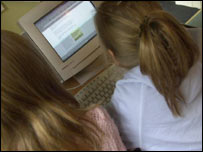 Two children using the internet, BBC