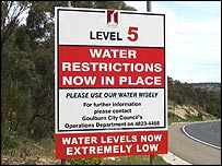 Water warning sign on road into Goulburn.