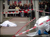 Covered body of Theo van Gogh in a street in Amsterdam, on 2nd November 2004