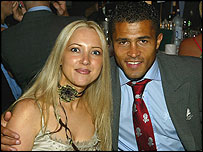 Jason Robinson at an awards dinner with his wife Amanda after England's World Cup win