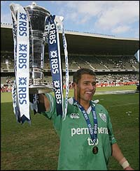 Jason Robinson celebrates winning the Grand Slam with England at Lansdowne Road in Dublin