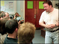 David Brent talks to staff at 'The Office'
