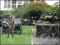French forces outside Abidjan's Hotel Ivoire