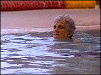 An older swimmer enjoying the pool