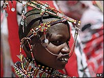 A Kenya Maasai woman dressed in her traditional costume