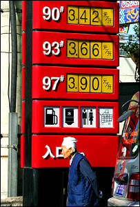 Petrol prices in China, AP