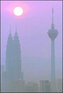 Smog over Kuala Lumpur's skyscrapers, AP