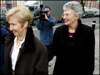 Louise Gilligan and Catherine Zappone leaving Dublin's High Court