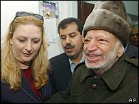 Yasser Arafat and his wife, Suha, leaving Ramallah for Paris
