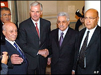 Palestinian Prime Minister Ahmed Qurei, French foreign minister Michel Barnier, former Palestinian Prime Minister Mahmoud Abbas and Palestinian Foreign Minister Nabil Shaath