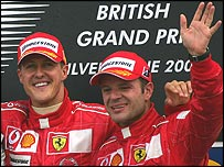 Rubens Barrichello and Michael Schumacher on the podium at this year's British Grand Prix