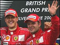 Rubens Barrichello and Michael Schumacher on the podium at this year's British Grand Prix