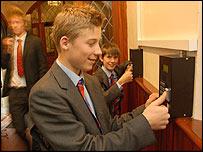 Pupils registering at Loughborough Grammar (photo by Mark Warner)