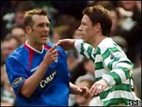 Rangers Fernando Ricksen and Celtic's Alan Thompson