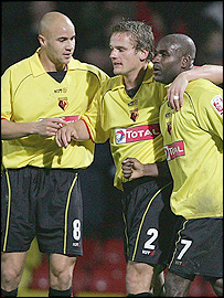 Bruce Dyer (right) celebrates Watford's opener