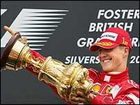 Michael Schumacher celebrates his 2004 Silverstone win