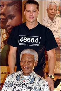 Brad Pitt with Nelson Mandela