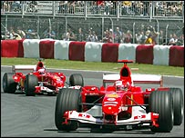 Michael Schumacher leads Rubens Barrichello in the Canadian Grand Prix