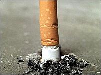 Cigarette stubbed out