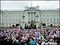 Revellers outside Buckingham Palace