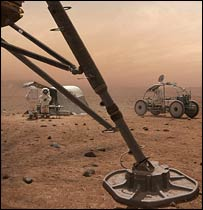 Astronauts at work on Mars (BBC)