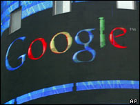 Google on Nasdaq billboard, AP