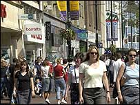 Shoppers out and about on a high street