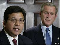 Alberto Gonzales and George Bush