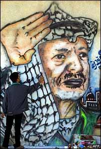 Palestinian artist is at work on a wall near Arafat's former office in Gaza City