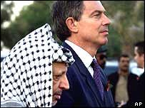 Yasser Arafat and Tony Blair