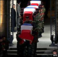 Ceremony for French peacekeepers killed in Ivory Coast
