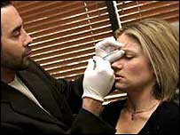 Botox injection being given