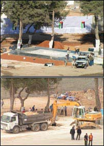 Images of the site of Yasser Arafat's tomb being prepared