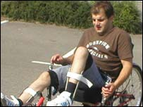 A recumbent tricycle