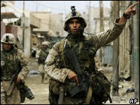 US marines make their way through the centre of Falluja