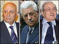 Left to right: Ahmed Qurei, Mahmoud Abbas and Farouk Kaddoumi