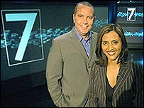 Eddie Mair and Tazeen Ahmad of BBC Three News