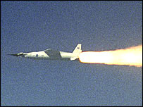 X-43A test flight, 27 March 2004   Image: Nasa