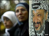 Palestinians at a ceremony for Arafat in Bulgaria