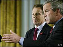 UK Prime Minister Tony Blair, left, and US President George Bush