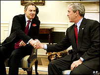 Tony Blair and George Bush in the Oval Office