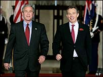 US President George W Bush and UK Prime Minister Tony Blair