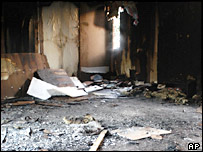 Inside the burnt-out mosque in Helden