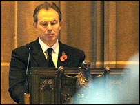 Tony Blair at the Ken Bigley memorial service in Liverpool