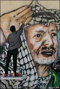 Palestino pinta imagen de Yasser Arafat en la pared