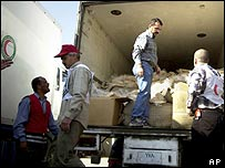 Red Crescent workers load a truck with food in Baghdad