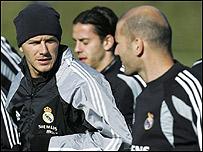 David Beckham y Zinedine Zidane