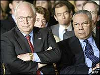 Dick Cheney, left, with Secretary of State Colin Powell at a news conference on Friday